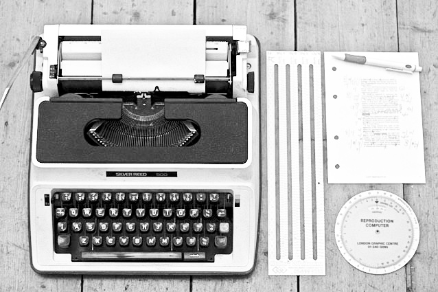 Typewriter, typescale, proof marks, reproduction computer