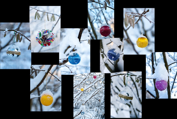 Baubles hanging on a snow-covered tree