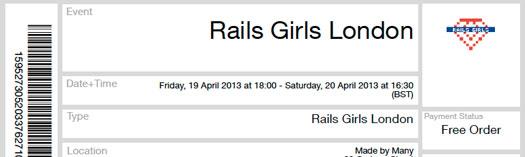 Rails Girls Ldn ticket